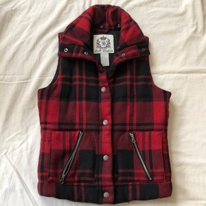 Red Buffalo Plaid Puffer Vest High Collar XS S